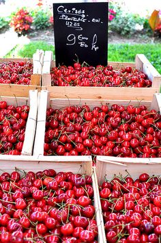 Cherries, Sunday Market at L'Isle-sur-la-Sorgue suivez-nous : @studio_cigale regardez cette video instructive et marrante http://studiocigale.fr/films/?catid=1&slg=les-13-cepages-de-chateauneuf-du-pape