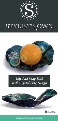 Stylist's Own® Handmade Copper Enamelled Soap Dish Collection. Frog Design, Copper Decor, Soap Dishes, Lily Pad, Handmade Copper, Stylists, Prince, Enamel, Crystals