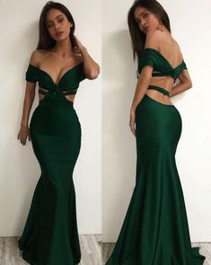 Sexy Emerald Green Prom Dress,Mermaid Cross Prom Dress,Off The Shoulder Long Party Dress by DRESS, $166.00 USD