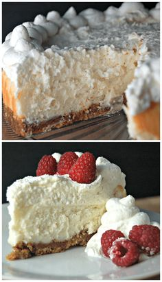 Vanilla Bean Cheesecake with White Chocolate Mousse. This is a Cheesecake Factory Copycat recipe! The BEST eggless cheesecake recipe EVER! Eggless Cheesecake Recipe, Vanilla Bean Cheesecake, Cheesecake Recipes, Cheesecake With Whipped Cream, No Bake Desserts, Just Desserts, Delicious Desserts, Dessert Recipes, Yummy Food