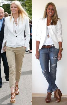I love the pairing of the white blazer with the white t-shirt, casual jeans, tan shoes, and the necklaces.
