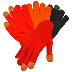 Red Black & Orange 3 Pack Texting Gloves (€12) ❤ liked on Polyvore featuring accessories, gloves, red, black gloves, red gloves and orange gloves