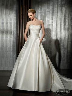 Vestido de novia sencillo, corte princesa. Femme Mode 2012