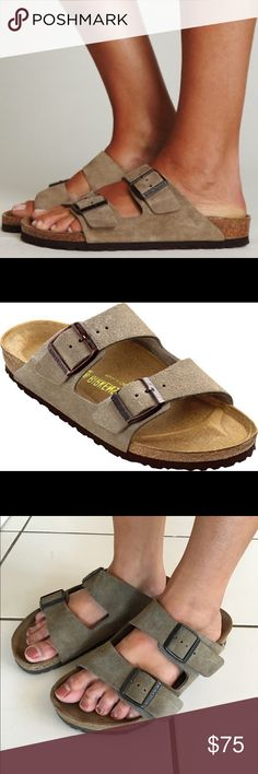 Arizona Birkenstocks - Taupe Taupe Arizona Birkenstocks - (Size 39) Only worn a couple times & in great condition. Just too big for me (as can be seen in the 3rd photo)  Birkenstock Shoes Sandals
