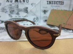 WAITING FOR THE SUN LA UNE WOOD SUNGLASSES (Cognac) by WAITING FOR THE SUN. $185.00. w