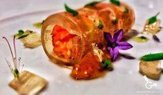 Canelón de agua de tomate con pan y jamón 1