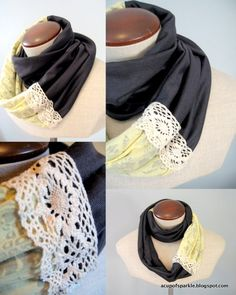 A Cup Of Sparkle: Jersey Lace Scarf Tutorial...I have decided I'm going to have to make this! :)