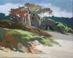"For Sale on - ""Cypress"", Oil Paint, Board by Francis Livingston. Impressionist Paintings, Landscape Paintings, Art Paintings, Beach Paintings, Landscape Art, Landscapes, Bay Area Figurative Movement, Southwest Art, Livingston"