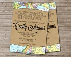 Printable Travel Wedding Shower Invitation LOVE Is A By DandeAve, $10.00