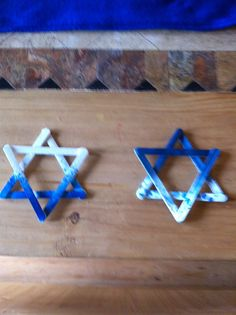 Stars of David made from craft sticks..