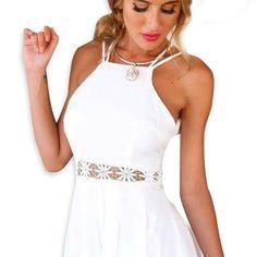 Blanco con tiras de encaje sin espalda Panel Playsuit