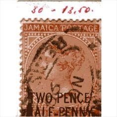 QV Jamaica 2 1/2 pence overprint on 4d