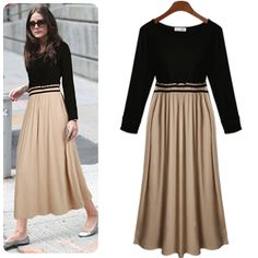 2013 new arrival free shipping autumn and winter fashion plus size  long-sleeve pleated one-piece dress full dress US $24.99