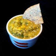 My Mom's Kiwi-Mango Salsa:   3 peeled kiwis; 2 fresh jalapeños; 2 cups mango;  juice from 2 limes.  Put kiwis, mango, and lime juice in a food processor to dice. Mince jalapeños and stir into other ingredients.  Serve with tortilla chips or on your favorite Mexican dish! :)