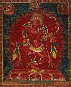Kurukulle (Red Tara), Tibetan Buddhist Thangka, ca. Tibetan Art, Tibetan Buddhism, Buddhist Art, Vajrayana Buddhism, Buddha, Thangka Painting, Goddess Of Love, Religion, Gods And Goddesses