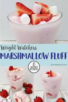 marshmallow fluff recipes An easy, quick and delicious Weight Watchers desert recipe. This fluff is zero SmartPoints on the Freestyle / Flex plan. Use fresh strawberries and mini marshmallows for a sweet & tasty weight watchers treat. Weight Watchers Meal Plans, Weight Watchers Chicken, Weight Watchers Desserts, Weight Watchers Fluff Recipe, Weigh Watchers, Weight Watchers Puddings, Weight Watchers Cheesecake, Marshmallow Fluff Recipes, Natural Detox Drinks