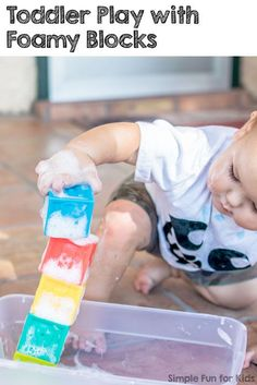 Infants Simple Sensory Activities: Toddler Play with Foamy Blocks - quick to set up and lots of fun! Kids Activities At Home, Sensory Activities, Infant Activities, Sensory Play, Sensory Bins, Sensory Table, Outdoor Activities, Toddler Busy Bags, Toddler Play