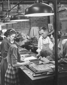Journalism students working on the Daily Lass-O at Texas State College for Women (Denton, TX), 1953.