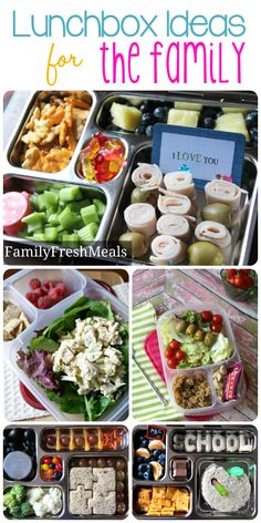 Here is this week's Easy Lunchbox Ideas for the Family. Each of these lunch took me 10 minutes or less to make. Fun, fresh and healthy lunch ideas!