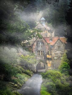 Approaching the Victorian country mansion of Cragside in Northumberland.