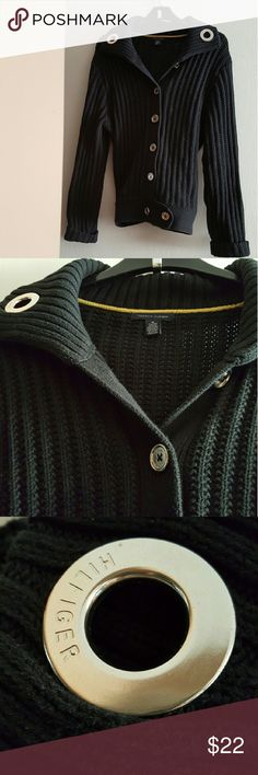 Tommy Hilfiger Sweater Ladies Black Tommy H Sweater. I have worn this once and its super cute with alot of Tommy H detail.  I will not sell anything that I would not buy, so please know you can buy with confidence.  This is Tommy quality and a heavy sweater.  From smokefree, petfree home. Tommy Hilfiger Sweaters Cardigans