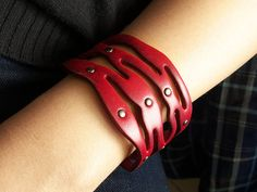 Red Leather Wrap With Antique Rivets Leather Cuff by ACuteCute, $10.00