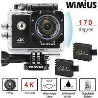 """Wimius 4K Action Cam WIFI WebCamera Full HD 1080P 16MP Impermeabile Sport Camera 170 ° Grandangolare 2.0"""" Schermo LCD con Vari Accessori Nero"""