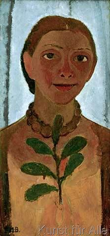 Paula Modersohn-Becker - Selfportrait with camelia branch