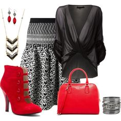 Red ankleboot. A black, white and red look with a flattering drop waist skirt.