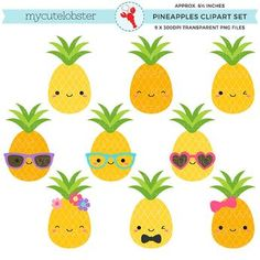 Buy Now Cute Pineapples Clipart Set - pineapple clip art fun. Pineapple Clipart, Pineapple Backgrounds, Fruit Clipart, Cute Clipart, Images Kawaii, Summer Clipart, Cute Pineapple, Tropical Party, Luau Party