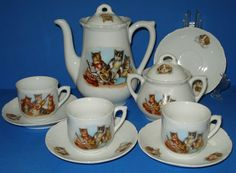 Vintage Child's German cat tea set