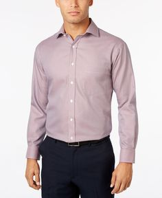 Tasso Elba Men's Classic-Fit Non-Iron Burgundy Houndstooth Dress Shirt, Only at Macy's