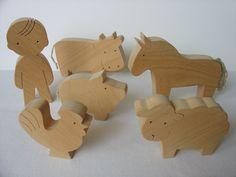 Farm Animal Set - Waldorf wooden toys - Handmade. $42.00, via Etsy.