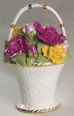 Royal Albert Old Country Roses Gardener's Musical Basket Living Room Wall Units, Ikea Living Room, Living Rooms, Love Rose, China Patterns, Royal Albert, Vintage Glassware, Vases Decor, Vintage Flowers