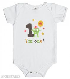 I am one cute first birthday party monster creeper | Cute fist birthday shirt for little boys and girls. The design feature a funny, green cartoon monster with three eyes holding a balloon with a cupcake next to the number