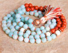 Amazonit Mala Perlen, Heilung, Schmuck, buddhistische Halskette, verknotete Gebetskette, Japa Mala für Heilung, Detox, Stress Relief