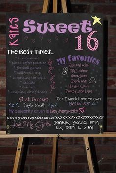 Custom Printable Sweet 16 Board Poster. $30.00, via Etsy.