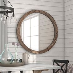 Booker Round Wood Wall Mirror