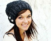 Knit Hat Womens Hat - Seed Beret Hat in Charcoal Grey - Fall Fashion Accessories