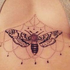 women sternum tattoo