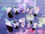 Pastel Purple and Black Pearl Nail Set by jadelushdesigns