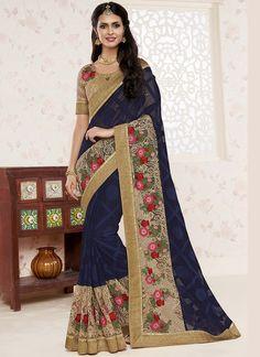 Wholesale Wedding Wear Designer Dark Blue Sarees