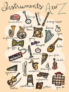 Instruments A to Z Poster - 18x24 - Instant Download, music print, alphabet art, alphabet nursery print, abcs for nursery, music art by Cantabrigia on Etsy https://www.etsy.com/listing/239925335/instruments-a-to-z-poster-18x24-instant