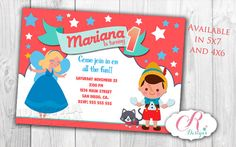 Digital Personalizated Pinocchio Birthday Invitation
