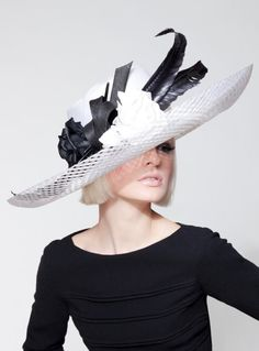 Dillon Wallwork - White parisisal/lattice sinamay brim trimmed with curled goose quills and silk satin rosebuds.
