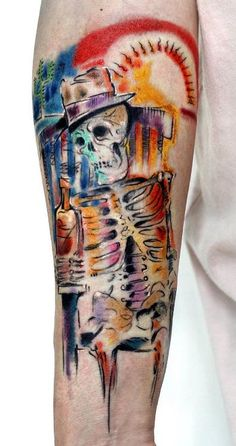 Drinking Skeleton Tattoo