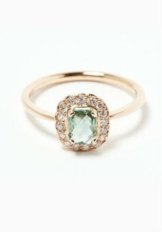 Green sapphire and rose gold. IN LOVE. future husband, take note. This is perfection. THIS IS THE ONE!