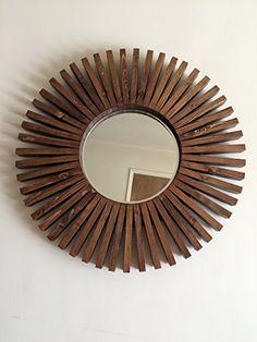 "Sunburst Walnut Color Round Wall Mirror Wood Frame 26"""
