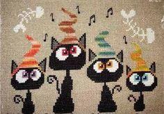Alley Cats Quartet cat cross stitch chart Barbara Ana Designs $7.65