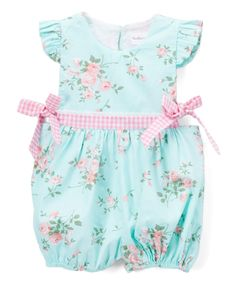 Keep her nice and cool when temperatures climb with this breathable cotton romper. A whimsical pattern and bows will have her looking ever-so sweet, and bottom snaps simplify changes.100% cottonMachine washImported